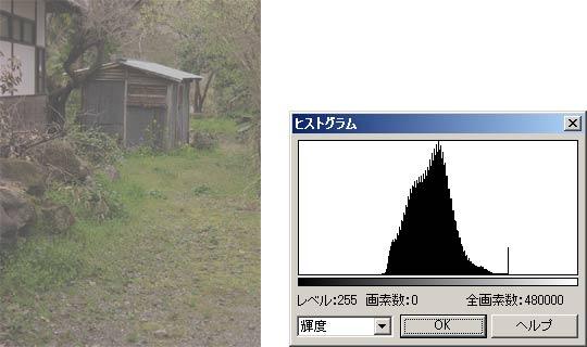 図5 コントラストが低い画像とそのヒストグラム